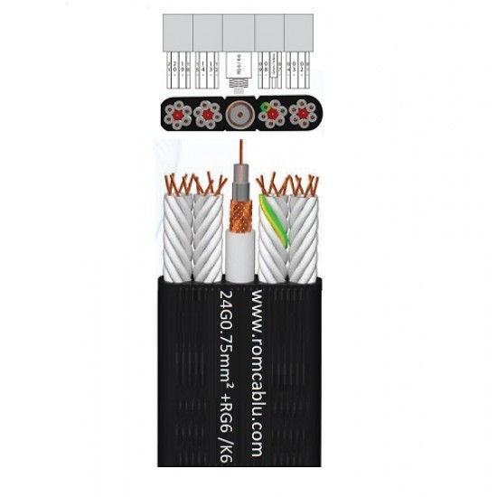 Special PVC Flat Flexible Cables with  RG 6/K-6  for elevators  H05VVH6-F 300/500 V